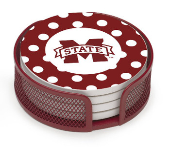 Mississippi State Bulldogs Dots Coasters w/Mesh Holders, Set of 10
