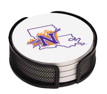 Northwestern State Demons Coasters with Mesh Holders, Set of 10