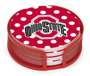 Ohio State Buckeyes Dots Beverage Coasters w/Mesh Holders, Set of 10