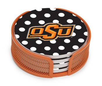 Oklahoma State Cowboys Dots Coasters w/Mesh Holders, Set of 10