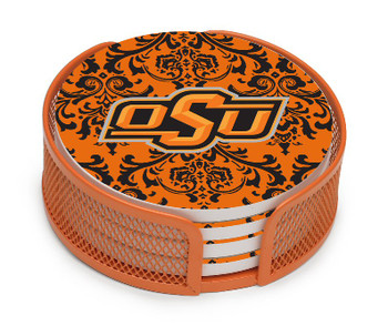 Oklahoma State Cowboys Pattern Coasters w/Mesh Holders, Set of 10