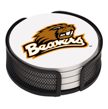 Oregon State Beavers Beverage Coasters with Mesh Holders, Set of 10