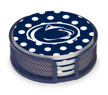 Penn State Nittany Lions Dots Coasters w/Mesh Holders, Set of 10