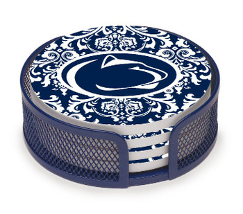 Penn State Nittany Lions Pattern Coasters w/Mesh Holders, Set of 10