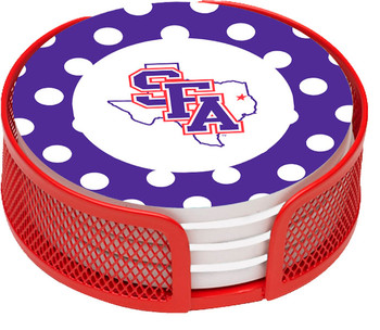Stephen F. Austin Lumberjacks Dots Coasters w/Mesh Holders, Set of 10