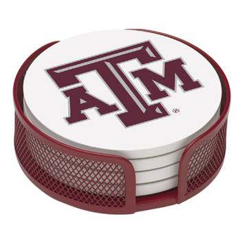 Texas A&M Aggies Beverage Coasters with Mesh Holders, Set of 10