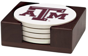 Texas A&M Aggies Beverage Coasters with Holders, Set of 10