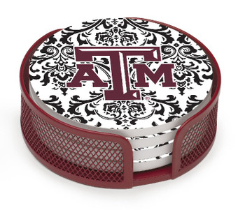 Texas A&M Aggies Pattern Beverage Coasters w/Mesh Holders, Set of 10