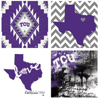 Texas Christian Horned Frogs Spirit Beverage Coasters, Set of 8
