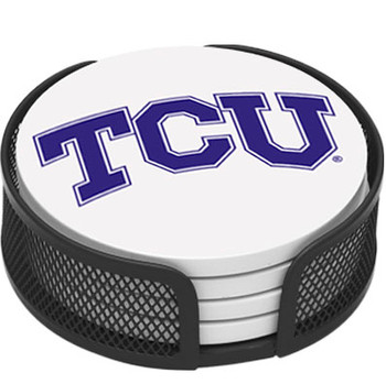 Texas Christian Horned Frogs Coasters with Mesh Holders, Set of 10