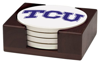 Texas Christian Horned Frogs Beverage Coasters with Holders, Set of 10