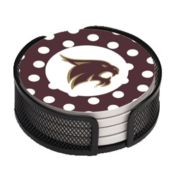 Texas State Bobcats Dots Beverage Coasters w/Mesh Holders, Set of 10