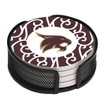 Texas State Bobcats Pattern Coasters w/Mesh Holders, Set of 10