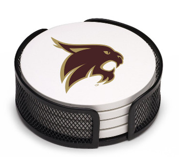 Texas State Bobcats Beverage Coasters with Mesh Holders, Set of 10