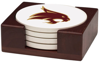 Texas State Bobcats Beverage Coasters with Holders, Set of 10