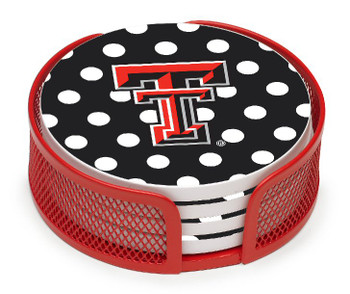 Texas Tech Red Raiders Dots Coasters w/Mesh Holders, Set of 10
