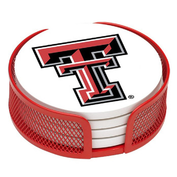 Texas Tech Red Raiders Beverage Coasters with Mesh Holders, Set of 10