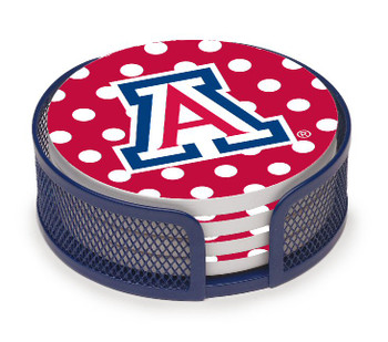 Arizona Wildcats Dots Coasters with Mesh Holders, Set of 10