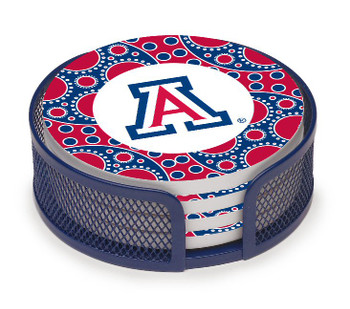 Arizona Wildcats Circles Coasters with Mesh Holders, Set of 10