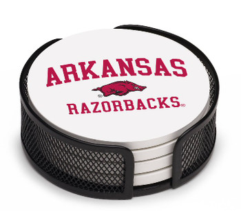 Arkansas Razorbacks Beverage Coasters with Mesh Holders, Set of 10