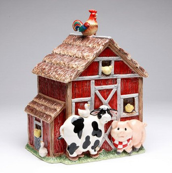 Barn Yard Ceramic Cookie Jar