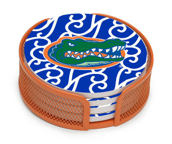 Florida Gators Swirls Coasters with Mesh Holders, Set of 10