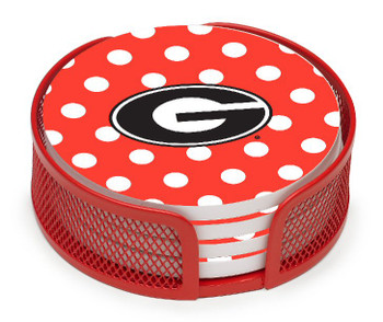 Georgia Bulldogs Dots Coasters with Mesh Holders, Set of 10