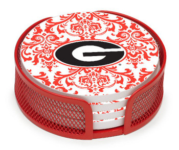 Georgia Bulldogs Pattern Coasters with Mesh Holders, Set of 10