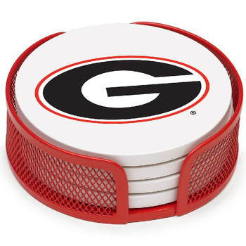 Georgia Bulldogs Beverage Coasters with Mesh Holders, Set of 10