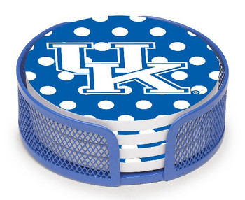 Kentucky Wildcats Dots Beverage Coasters with Mesh Holders, Set of 10