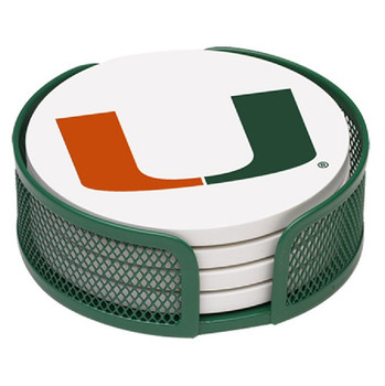 Miami Hurricanes Beverage Coasters with Mesh Holders, Set of 10