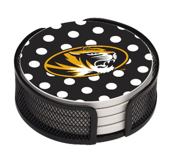 Missouri Tigers Dots Beverage Coasters with Mesh Holders, Set of 10