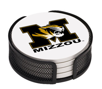 Missouri Tigers Beverage Coasters with Mesh Holders, Set of 10