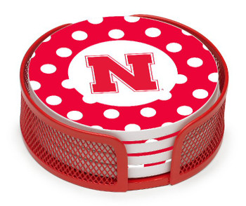 Nebraska Cornhuskers Dots Coasters with Mesh Holders, Set of 10