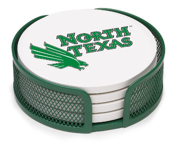 North Texas Mean Green Beverage Coasters w/Mesh Holders, Set of 10