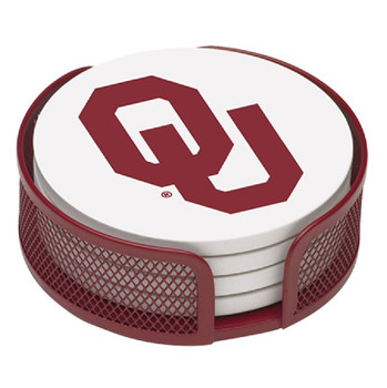 Oklahoma Sooners Beverage Coasters with Mesh Holders, Set of 10