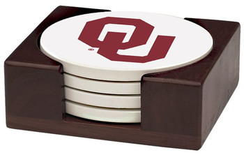 Oklahoma Sooners Beverage Coasters with Holders, Set of 10