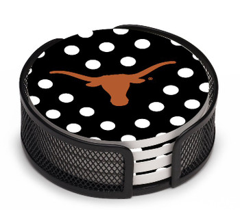 Texas Longhorns Dots Beverage Coasters with Mesh Holders, Set of 10