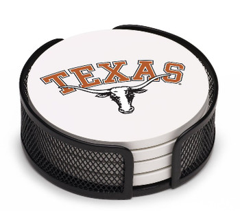 Texas Longhorns Beverage Coasters with Mesh Holders, Set of 10