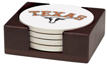 Texas Longhorns Beverage Coasters with Holders, Set of 10