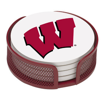 Wisconsin Badgers Beverage Coasters with Mesh Holders, Set of 10