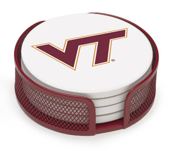 Virginia Tech Hokies Beverage Coasters with Mesh Holders, Set of 10