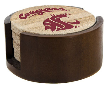 Washington State Cougars Sandstone Coasters with Holders, Set of 10