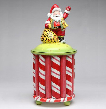 Santa on Top Ceramic Cookie Jar