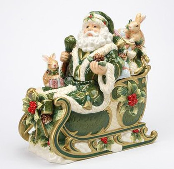 Santa in His Sleigh Porcelain Cookie Jar