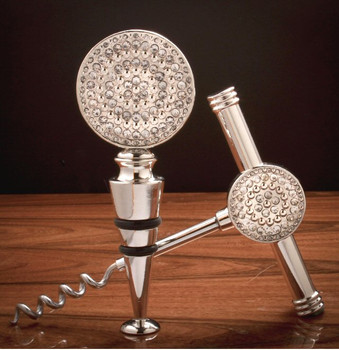 Brushed Silver Bling Metal Corkscrew and Wine Stopper Set