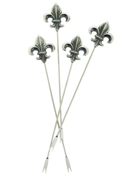 Fleur De Lis Metal Appetizer Hors d'oeuvre Pick, Set of 8