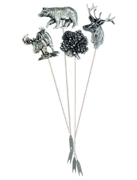 Bear Moose Deer Pinecone Metal Appetizer Hors d'oeuvre Pick, Set of 8