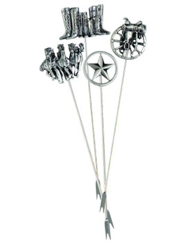 Cowboy Western Metal Appetizer Hors d'oeuvre Pick, Set of 8