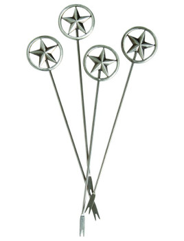 Texas Western Star Metal Appetizer Hors d'oeuvre Pick, Set of 8